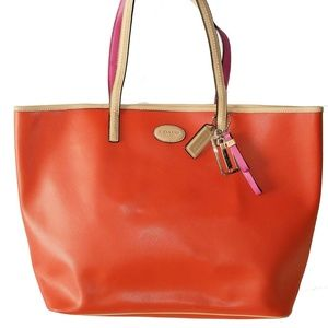COACH Large Park Metro Leather Tote in Coral